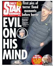 Daily Star Sunday (UK) Newspaper Front Page for 28 May 2017
