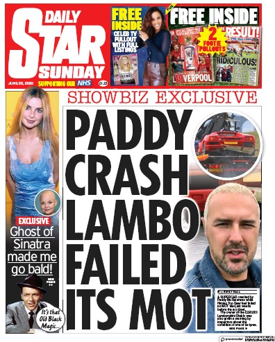 Daily Star Sunday Newspaper Front Page (UK) for 28 June 2020