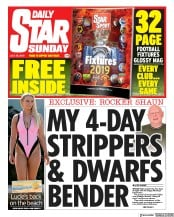 Daily Star Sunday (UK) Newspaper Front Page for 28 July 2019