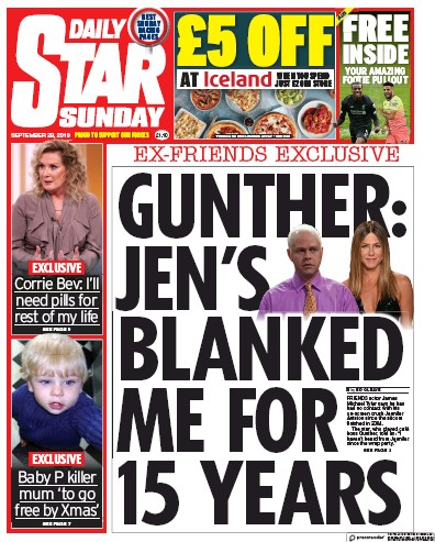 Daily Star Sunday Newspaper Front Page (UK) for 29 September 2019