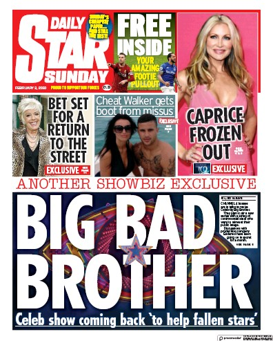 Daily Star Sunday Newspaper Front Page (UK) for 2 February 2020
