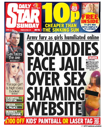 Daily Star Sunday Newspaper Front Page (UK) for 2 April 2017
