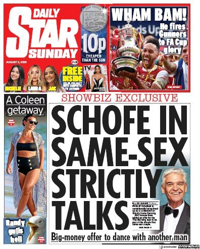 Daily Star Sunday Newspaper Front Page (UK) for 2 August 2020