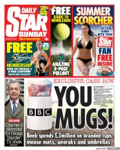 Daily Star Sunday (UK) Newspaper Front Page for 30 June 2019