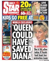 Daily Star Sunday (UK) Newspaper Front Page for 30 July 2017