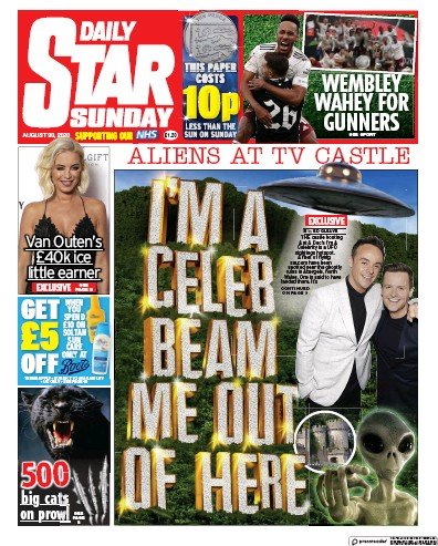 Daily Star Sunday Newspaper Front Page (UK) for 30 August 2020