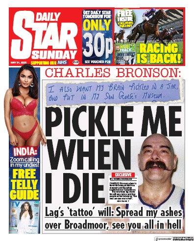 Daily Star Sunday Newspaper Front Page (UK) for 31 May 2020