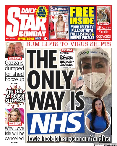 Daily Star Sunday Newspaper Front Page (UK) for 3 May 2020