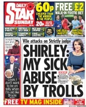 Daily Star Sunday (UK) Newspaper Front Page for 5 November 2017