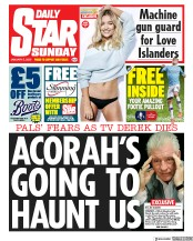 Daily Star Sunday () Newspaper Front Page for 5 January 2020
