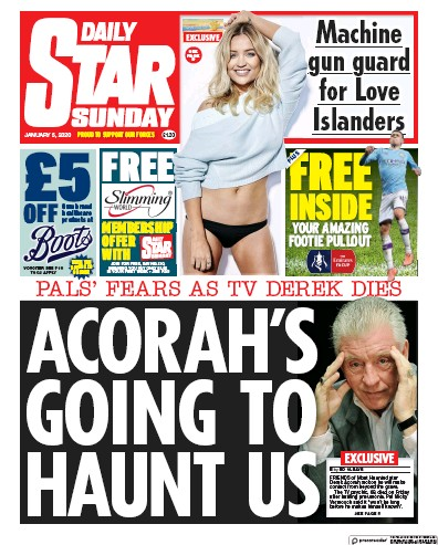 Daily Star Sunday Newspaper Front Page (UK) for 5 January 2020