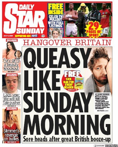 Daily Star Sunday Newspaper Front Page (UK) for 5 July 2020