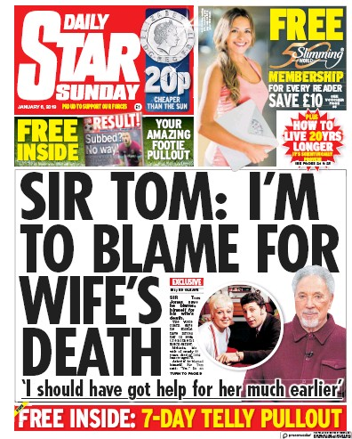Daily Star Sunday Newspaper Front Page (UK) for 6 January 2019
