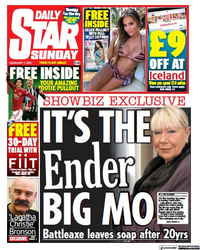 Daily Star Sunday Newspaper Front Page (UK) for 7 February 2021