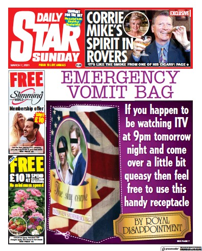 Daily Star Sunday Newspaper Front Page (UK) for 7 March 2021