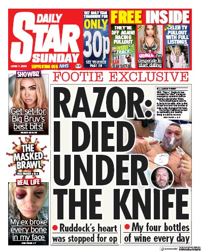 Daily Star Sunday Newspaper Front Page (UK) for 7 June 2020