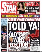 Daily Star Sunday front page for 8 November 2020