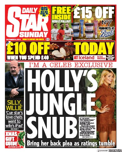 Daily Star Sunday Newspaper Front Page (UK) for 8 December 2019