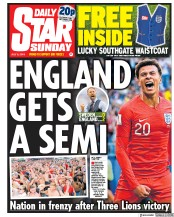 Daily Star Sunday (UK) Newspaper Front Page for 8 July 2018