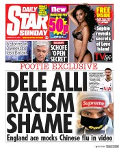 Daily Star Sunday front page for 9 February 2020