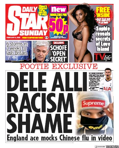 Daily Star Sunday Newspaper Front Page (UK) for 9 February 2020