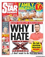 Daily Star Weekend (UK) Newspaper Front Page for 14 October 2012