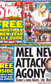 Daily Star Weekend (UK) Newspaper Front Page for 20 December 2014