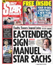 Daily Star Weekend (UK) Newspaper Front Page for 21 December 2014