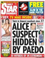 Daily Star Weekend (UK) Newspaper Front Page for 21 September 2014