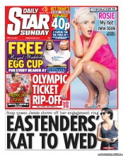 Daily Star Weekend Newspaper Front Page (UK) for 24 April 2011