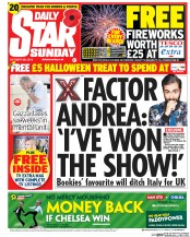 Daily Star Weekend (UK) Newspaper Front Page for 26 October 2014