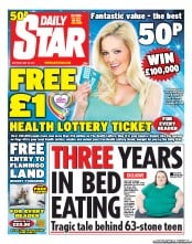 Daily Star Weekend Newspaper Front Page (UK) for 26 May 2012