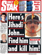 Daily Star Weekend (UK) Newspaper Front Page for 28 February 2015