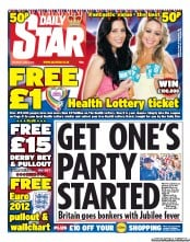 Daily Star Weekend Newspaper Front Page (UK) for 2 June 2012