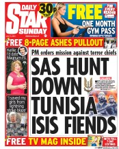Daily Star Weekend (UK) Newspaper Front Page for 5 July 2015