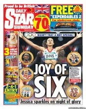 Daily Star Weekend Newspaper Front Page (UK) for 5 August 2012