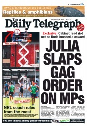 Daily Telegraph (Australia) Newspaper Front Page for 10 February 2012