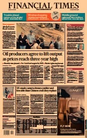 Financial Times () Newspaper Front Page for 19 July 2021