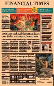 Financial Times () Newspaper Front Page for 20 July 2021