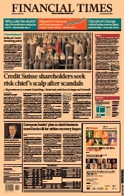Financial Times () Newspaper Front Page for 26 April 2021