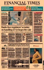 Financial Times (UK) Newspaper Front Page for 31 March 2021