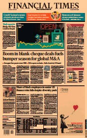 Financial Times (UK) Newspaper Front Page for 3 April 2021