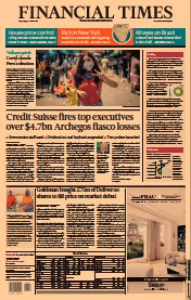 Financial Times () Newspaper Front Page for 7 April 2021
