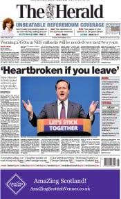 The Herald (UK) Newspaper Front Page for 16 September 2014