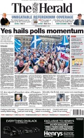 The Herald (UK) Newspaper Front Page for 17 September 2014