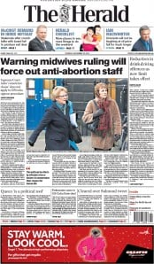 The Herald (UK) Newspaper Front Page for 18 December 2014