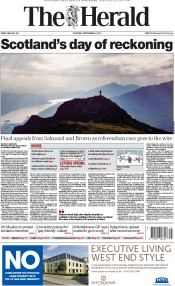 The Herald (UK) Newspaper Front Page for 18 September 2014