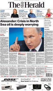 The Herald (UK) Newspaper Front Page for 19 December 2014