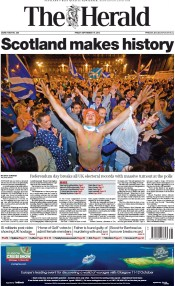 The Herald (UK) Newspaper Front Page for 19 September 2014