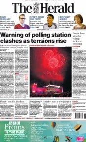 The Herald (UK) Newspaper Front Page for 1 September 2014